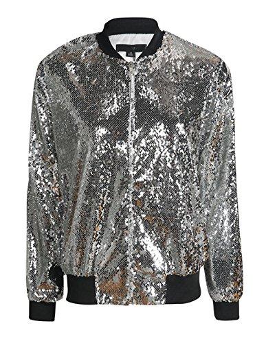 Richlulu Womens Sparkle Mermaid Sequin Threaded Sleeve Bomber Jacket (Medium, Silver)