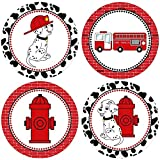 Firefighter Sticker Labels - Fire Truck Dalmatian Dog Kids Boy Girl Party Favor Labels - Set of 50