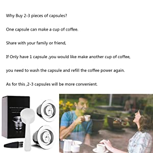 i Cafilas Reusable Capsules Stainless Steel Coffee Filters, 2PCS Refillable Pods for Original Series Nespresso Machines with 1 Plastic Spoon +1 Brush (silver) (Color: Silver, Tamaño: crema style)