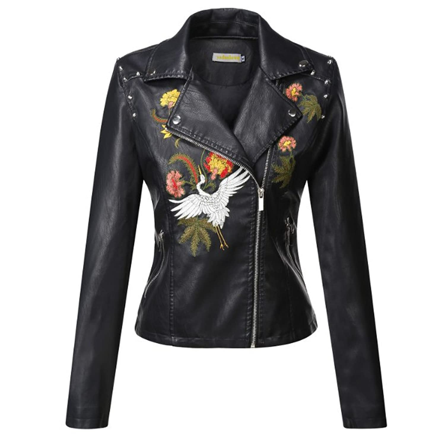 Gihuo Womens Floral Crane Faux Leather Embroidered Moto Jacket at Amazon Womens Coats Shop