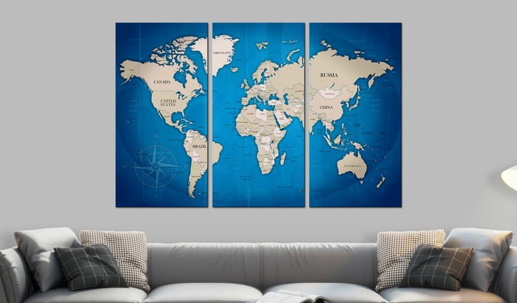 murando Carte du Monde 60x40 cm Tableau en Li/ège /& Tableau sur Toile Intissee XXL Impression Tableaux daffichage D/écoration Photo Image Artistique Photographie Graphique Memoboard k-A-0058-p-f