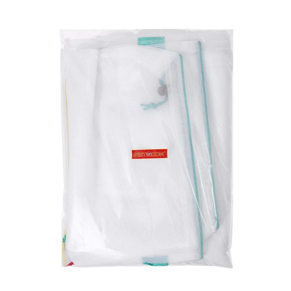 Bestonzon 12pcs Reusable Mesh Produce Bags Washable Eco Friendly Qkz Vk2 Grey For Grocery Shopping Storage Fruit Vegetable