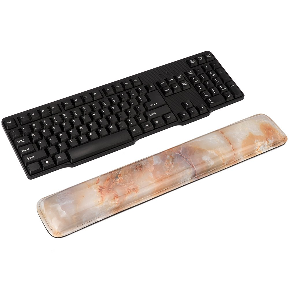 Wrist Rest Set, IEASSAU Wrist Rest Pads with High Elasticity Foam Padding and Marble Design for Keyboard & Mouse (18Lx3.25W)