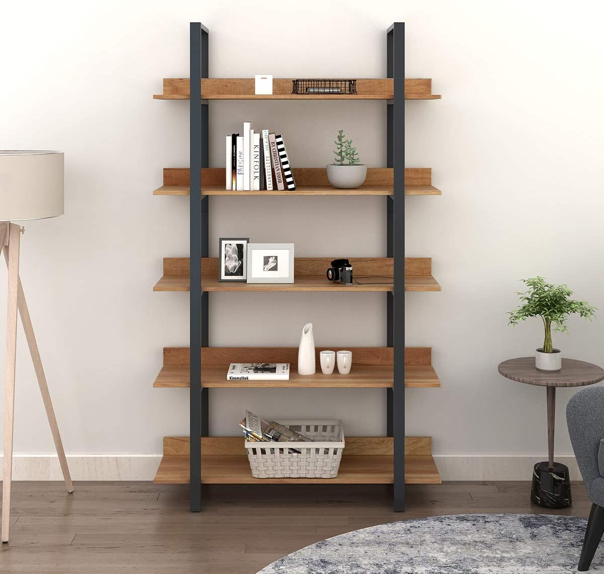 WLIVE 5-Tier Bookcase, Vintage Industrial Bookshelf, Wood and Metal Book Shelf Furniture, Organizer for Home and Office, Walnut