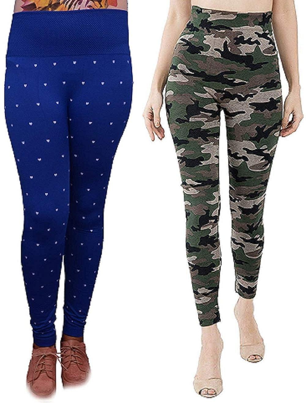 Women/'s Regular Polka Dot Pattern Velvet Jogger Leggings with Pockets
