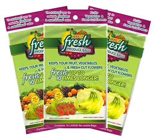 (Keep it Fresh Produce Bags – BPA Free Reusable Freshness Green Bags Food Saver Storage for Fruits, Vegetables and Flowers – Set of 30 Gallon Size Bags)