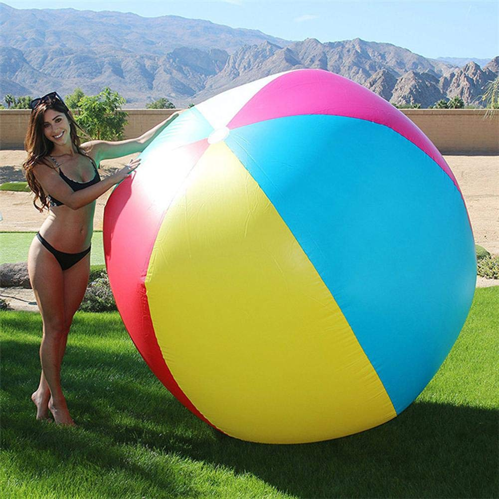 Beach Pool Party Favors Toys Balls for Adults and Kids Oversize Giant Beach Ball Inflatable Inflatable Beach Ball Large Three-Color Thickened PVC Entertainment Volleyball Decorative Toy