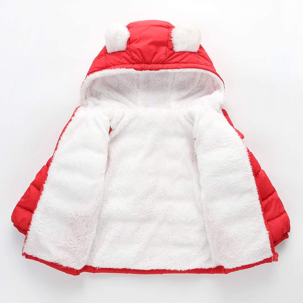 Fiaya Kids Boys Girl Winter Hooded Light Puffer Down Coats Jacket Kids Zipper Warm Ears Snow Hoodie Clothes