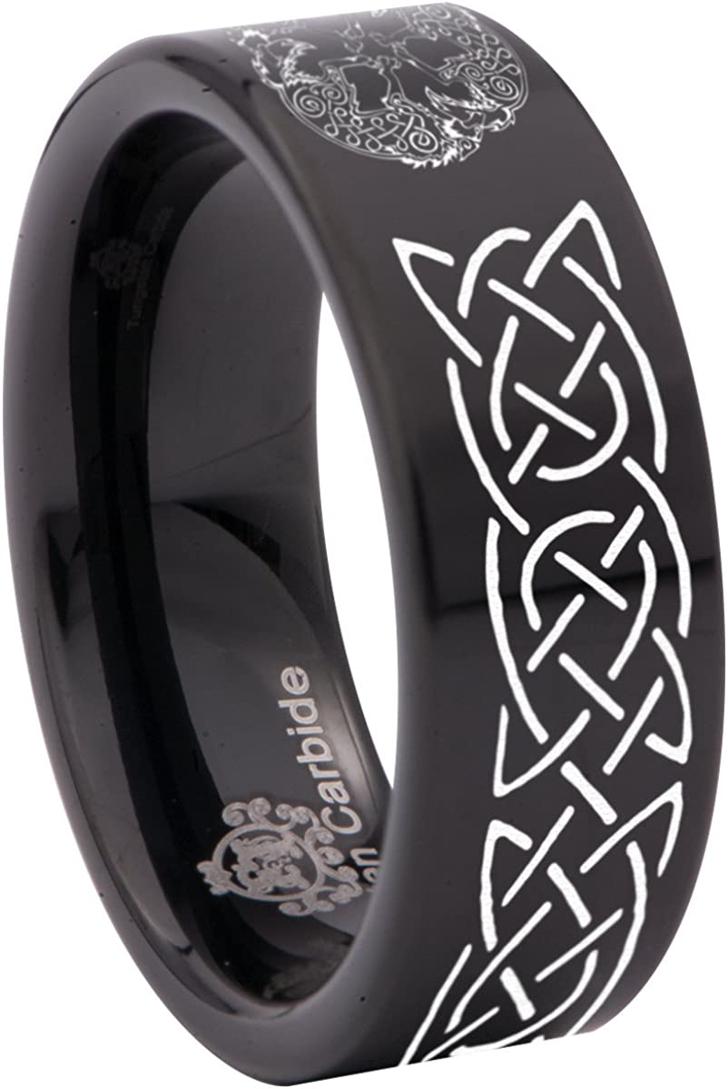 Thorsten Simple Artistic Fishing Hook Fish Sea Print Pattern Ring Flat Black Tungsten Ring 12mm Wide Wedding Band from Roy Rose Jewelry