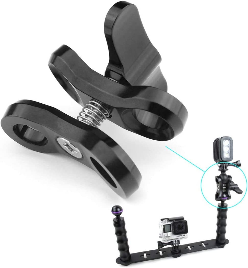 MeterMall New CNC Butterfly Clip Clamp 2 Open Hole Diving Light Bracket Tr Connector Ball Head Mount Adapter for Gopro Sports SLR Camera Blue