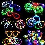 ARDUX 74pcs/Set LED Party Accessories Toy for Party with 12pcs LED Flashing Bumpy Rings, 6pcs LED Bubble Bracelets, 6pcs LED Glasses and 50pcs LED Glow Sticks