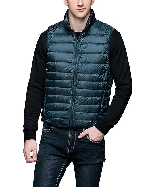 Chalecos de Plumas Ligero Sin Mangas Chaqueta Compresible Corta Abrigo de Invierno para Hombre