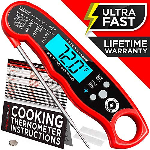Alpha Grillers Instant Read Meat Thermometer for Grill and Cooking. Upgraded with Backlight and Waterproof Body. Best Ultra Fast Digital Kitchen Probe. Includes Internal BBQ Meat Temperature Guide (Best Place To Probe A Turkey)