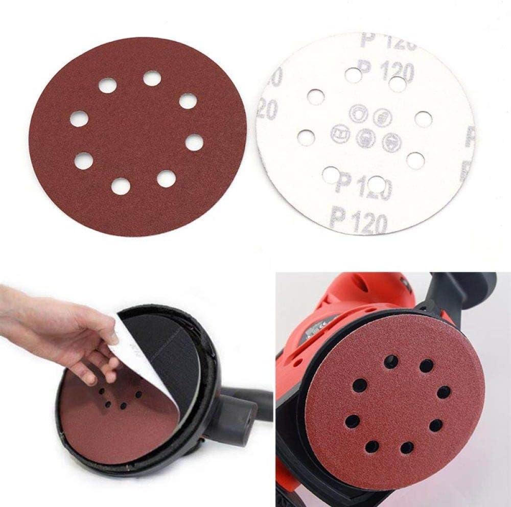 SLRMKK 100pcss 125mm 8 Hole Sander Polishing Pad,60 80 100 120 240 Grit Round Shape Sanding Discs Buffing Sheet Sandpaper,2000#100pcs 1500#100pcs