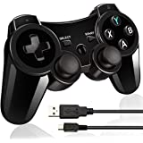 Double Vibrating Wireless Controller for PS3 With Charge Cable (Bright black)