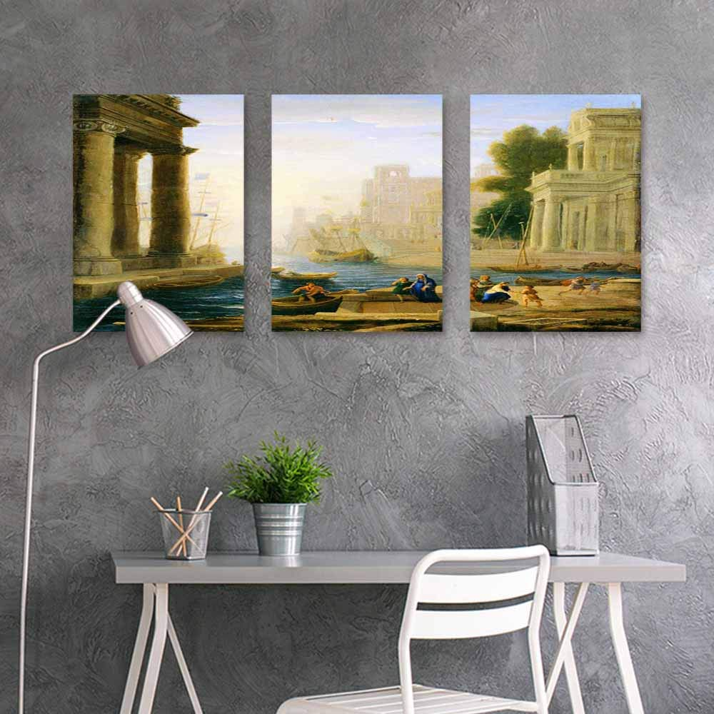 BDDLS Art Original Oil Painting Sticker,Vintage Postcard with Ruins of Roman Forum Easy Care Oil Painting 3 Panels,24x35inchx3pcs