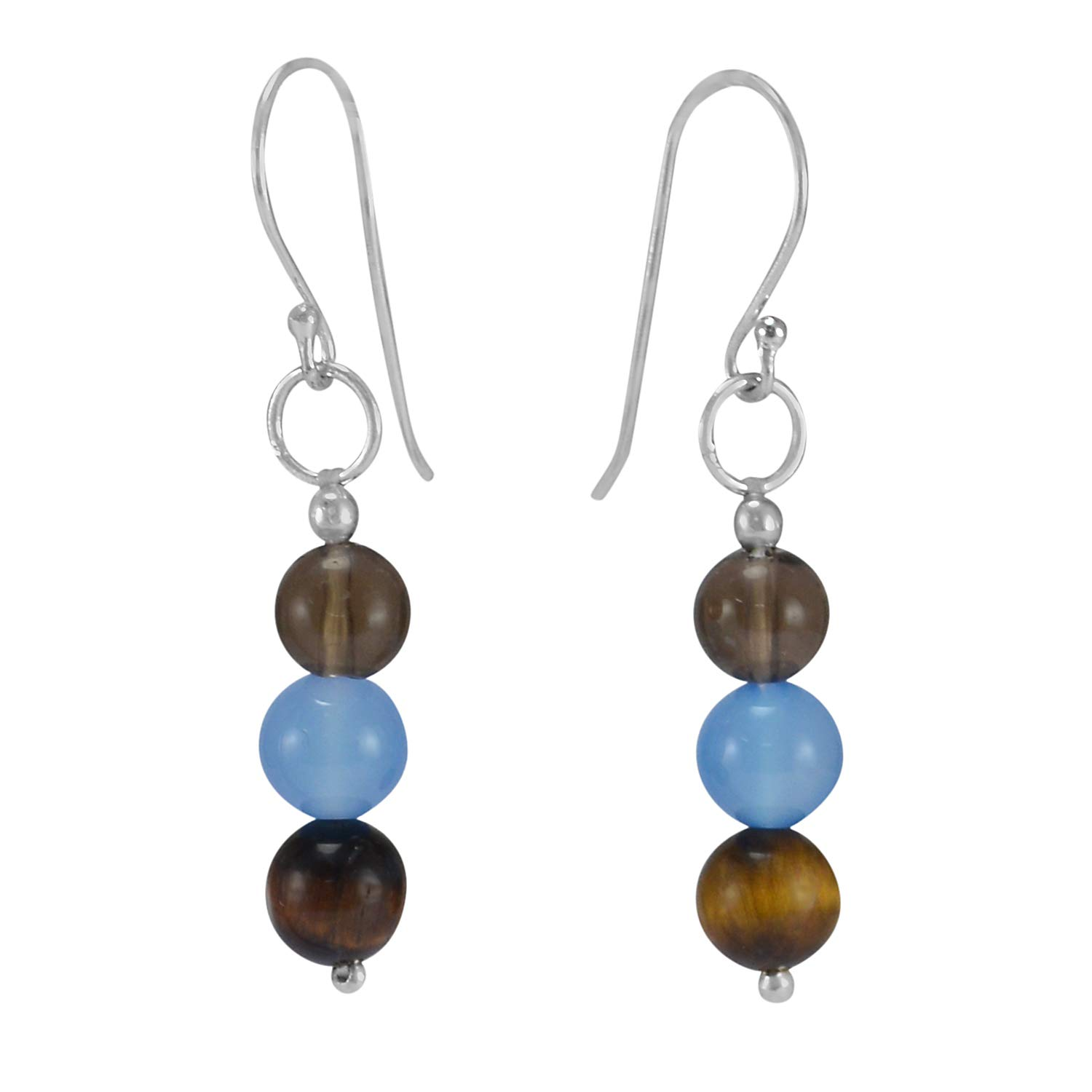 Silvestoo Jaipur Tiger Eye /& Blue Quartz Gemstone 925 Sterling Silver Earring PG-105356
