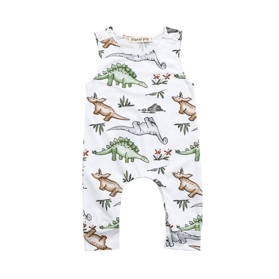 Baby Girl Clothes 6-24 month, HEHEM Baby Boy Girl Newborn Infant Baby Boys Girls Cartoon Dinosaur Print Romper Jumpsuit Outfits Baby Girl Clothes Baby Clothes Baby Boy Clothes Girls Clothes (White, 6-12 month)