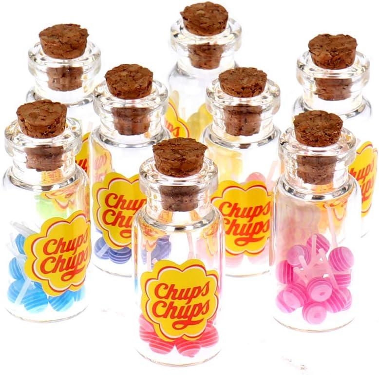 Qingsi 8 Pcs 1/12 Dollhouse Miniature Food Dessert Sugar Lollipops with Bottle Candy ToysDollhouse Miniature Supermarket Food Miniature Decor Model Toy for Girls and Boys,Multicolor
