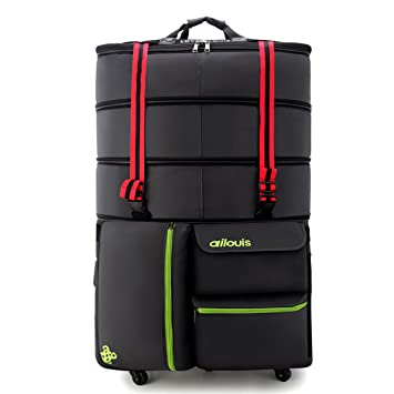 Amazon.com  ailouis 36 Inch Expandable Extra Large Wheeled Travel Duffel  Luggage Bag (Black A)  Beschan 64fc5256a8160