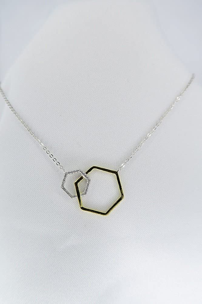 Classic Jewelry Two Tone Sterling Silver 16+2 Double Open CZ Hexagon Shape Necklace
