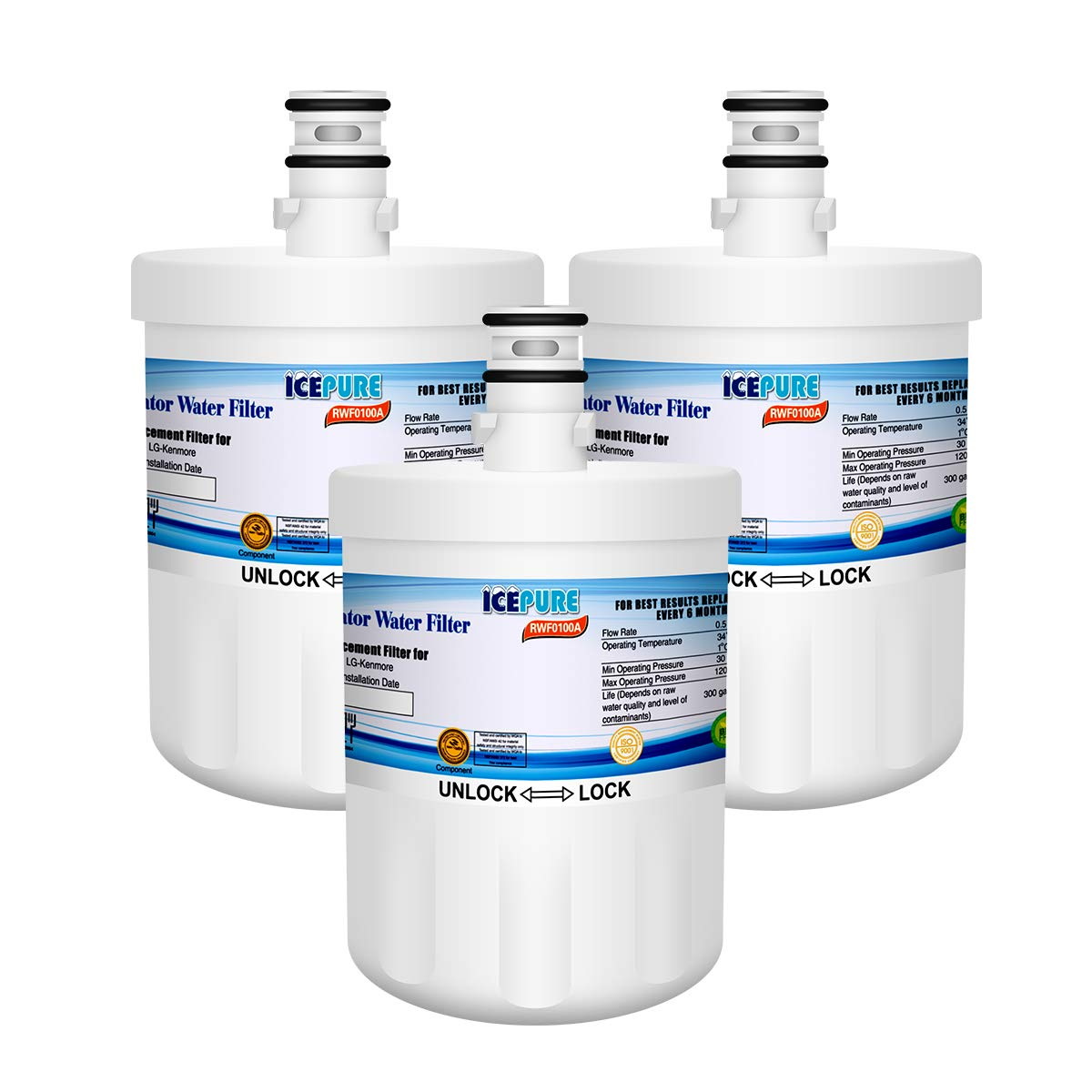 3 Pack Icepure Water Filter Replacement for LG LFX28968SW Refrigerator