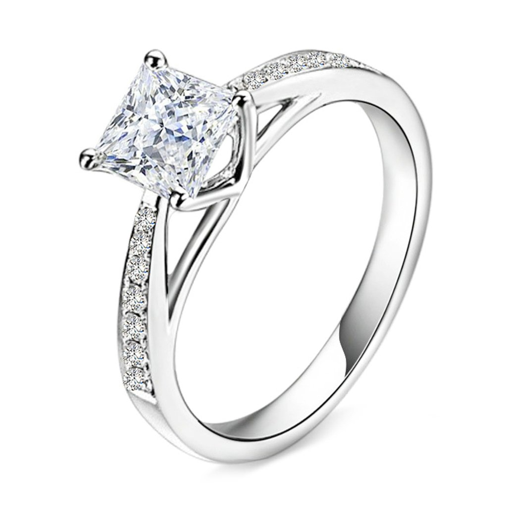Bishilin S925 Silver Vintage Style Cz Princess Cut Solitaire Wedding Engagement Rings For Her Size 8