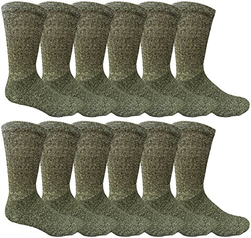 - 12 Pairs Value Pack of Wholesale Sock Deals Mens Ringspun Cotton 2Tone Twisted Socks, Black