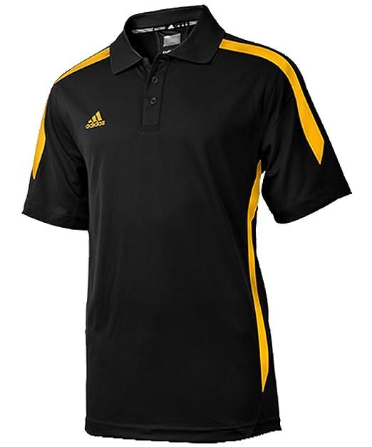 f4aa5e2d4bf9 Amazon.com  adidas Men s Sideline Polo - Black Collegiate Gold ...