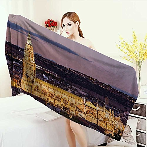 Yoga Mat Towel Wanderlust Decor Collection Dusk as the Flood Lights are Illuminated on Cathedral in Ancient City Of Toledo Spain Print Highly Absorbent Bath Towel 55''x27.5'' Gold by Anhounine