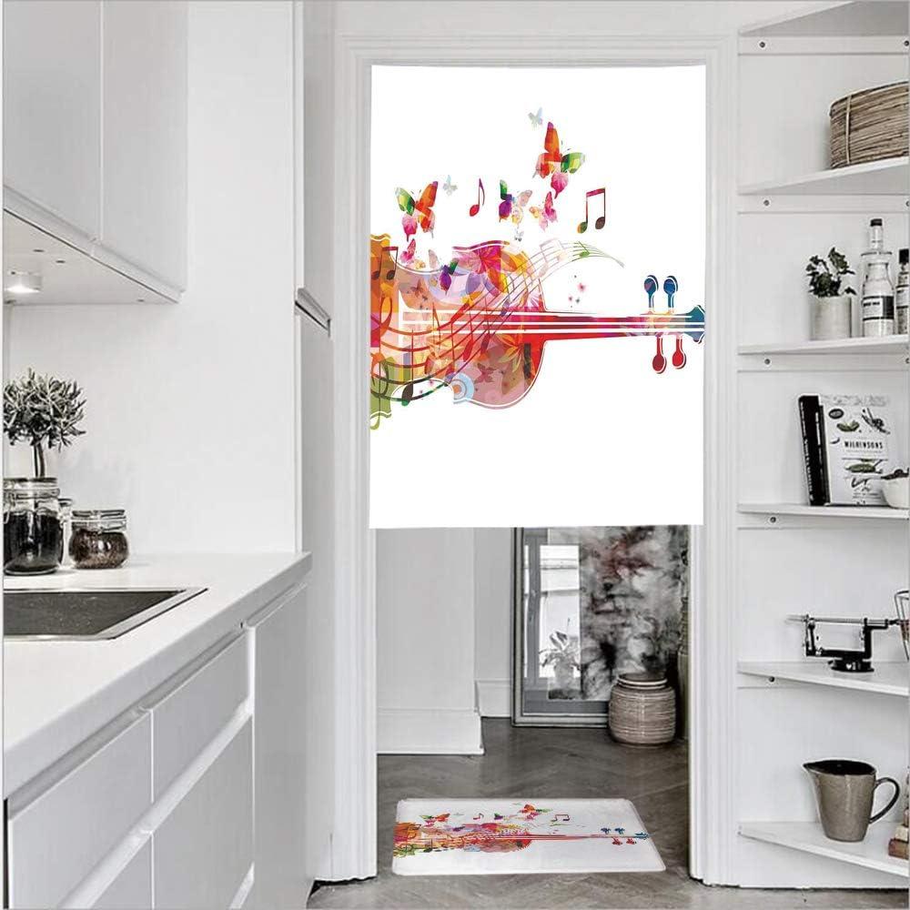 Cortinas para puerta de 1 panel con textura de lino impreso en 3D y 1 felpudo de cocina, tapete de cocina para diapasón curvo para el verano, cortina de puerta de un