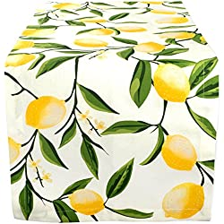 "DII Cotton Table Runner for Dinner Parties, Spring Wedding & Everyday Use - 14x72"", Lemon Bliss"