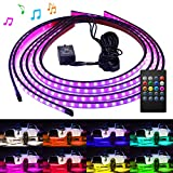 remote auto led lights - Govee Car Underglow Lights, 4 Pcs Led Strip Car Lights, 8 Color Neon Accent Lights Strip, Sync to Music, Wireless Remote Control 5050 RGB LED Strip Lights with Cable Tie & Screw