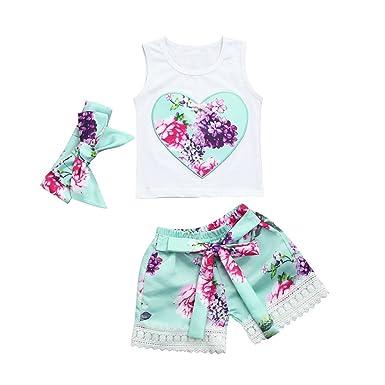 632eb7836bd94 Styledress Baby Kleidung Set 4Pcs Neugeborene Jungen Mädchen Sommer Kurzarm  Strampler Overall Tops+Hosen+Hut+Stirnbänder Romper Outfits Spielanzug ...