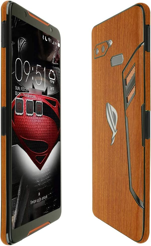 Full Coverage Skinomi Light Wood Full Body Skin Compatible with Asus ROG Phone TechSkin with Anti-Bubble Clear Film Screen Protector