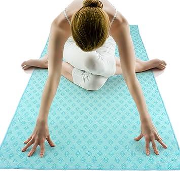 MEESU Non Slip Hot Yoga Towel, 100% Absorbent Microfiber Mat Towel, Anti-Slip Bikram HOT Yoga Towels Ideal for Hot Yoga Bikram Pilates, 24.8 inchx72 ...