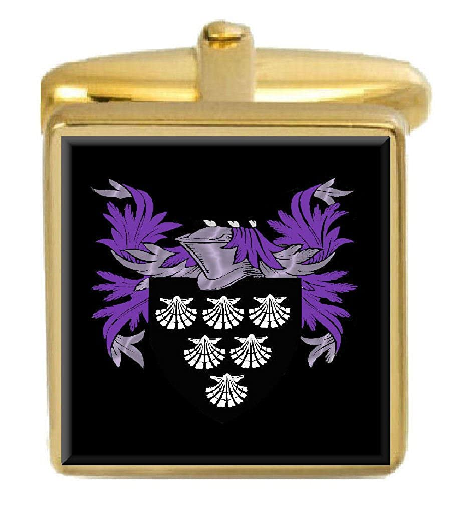 Select Gifts Robin England Family Crest Surname Coat Of Arms Gold Cufflinks Engraved Box