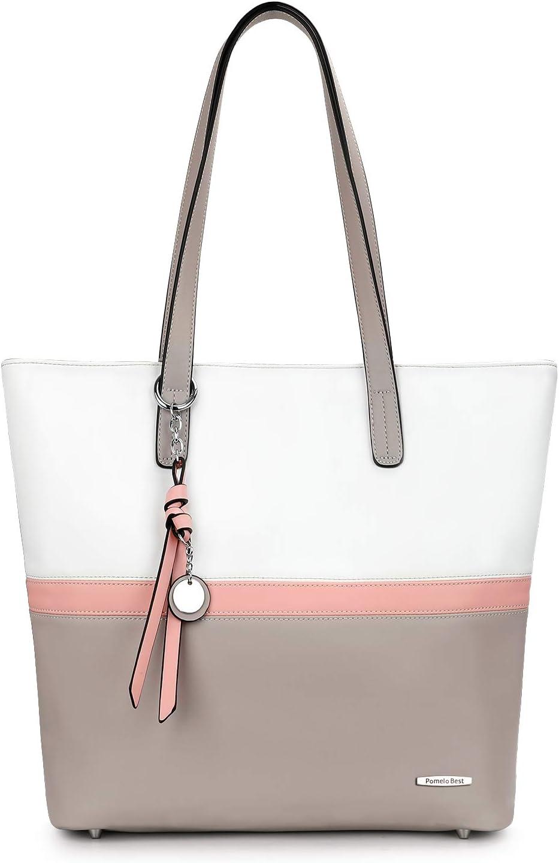 Pomelo Best Handtasche Damen Shopper Groß Damen Tasche für Büro Schule Einkauf: Amazon.de: Koffer - Weiße Handtasche