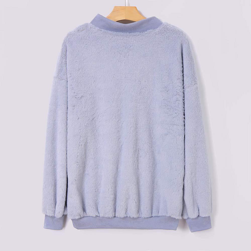 Inverlee Womens Long Sleeve Tops Winter Warm Blouse Sweatshirt Zipper Fleece Pullover Top