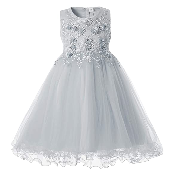 fb14f6618be7c Cielarko Formal Girls Party Dress Sleeveless Flower Girl Princess Ball Gown  for 2 to 11 Years Old: Amazon.co.uk: Clothing