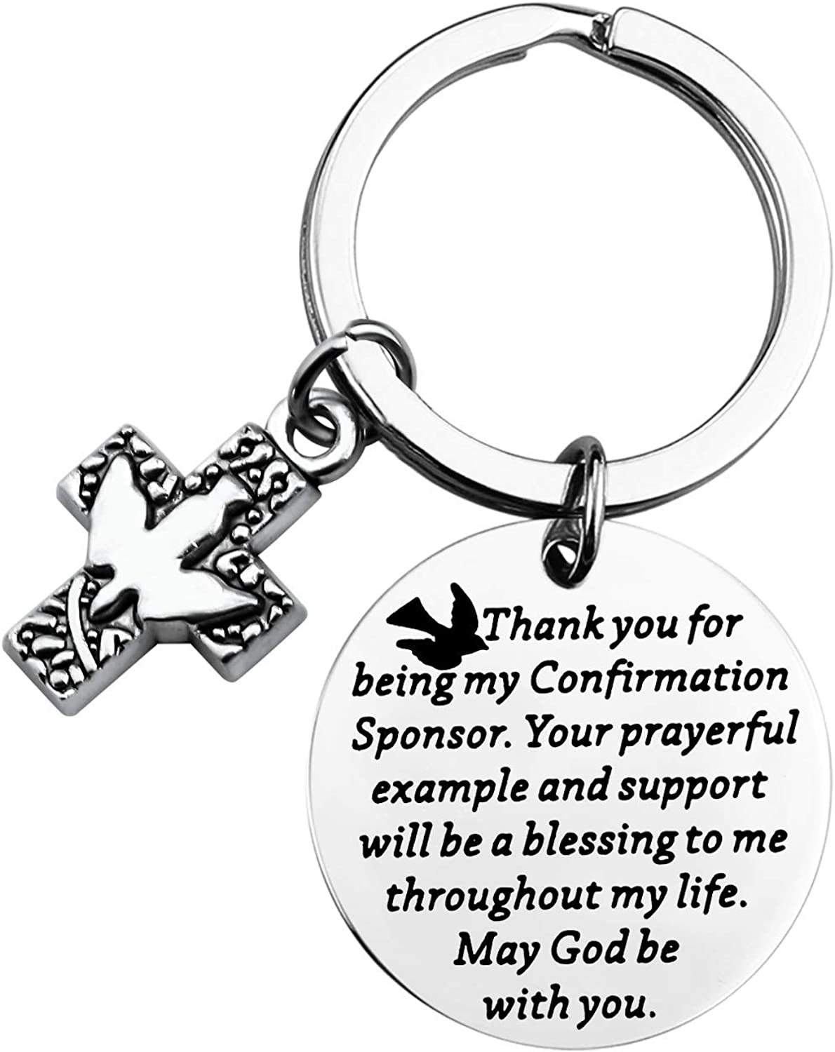 TIIMG Confirmation Sponsor Gift Thank You for Being My Confirmation Sponsor Keychain Confirmation Sponsor Thank You Gift Religious Sponsor Gift