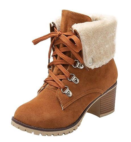 UH Damen Schnür Stiefeletten Gefüttert Chunky Heels Boots mit Blockabsatz 6cm Absatz Warm Freizeit Schuhe