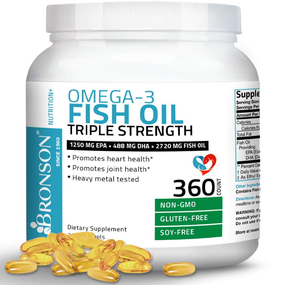 Omega 3 Fish Oil Triple Strength 2720 mg - High EPA 1250 mg DHA 488 mg - Heavy Metal Tested - Non GMO Gluten Free Soy Free - 360 Softgels