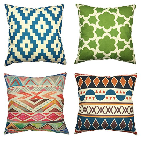 YOUR SMILE Geometric Cotton Linen Decorative Throw Pillow Case Cushion Cover Pillowcase for Sofa 18 x 18 Inch, Set of 4