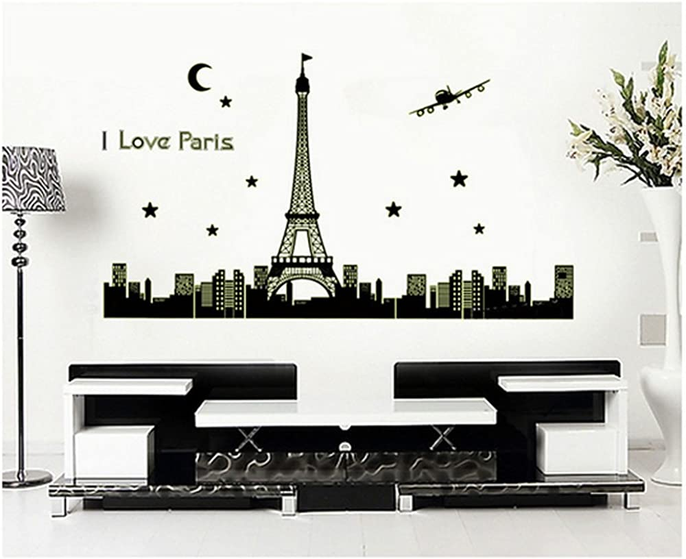 Yu2d Paris Eiffel Tower Night Removable Luminous Wall Sticker Vinyl Decal Decoration