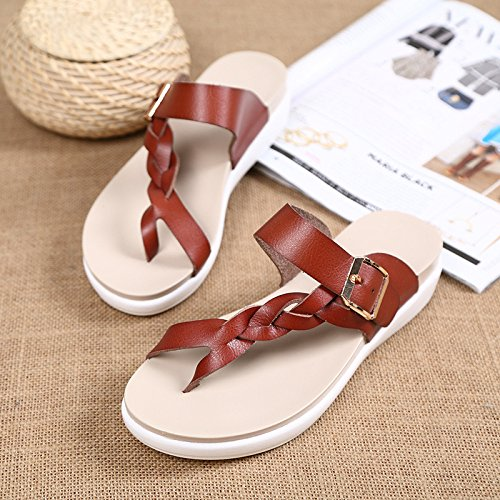 Blue D'été à De JIA Et Bout Femmes Pantoufles HONG Dames Pour Plates Sandales Modèles Pour En Antidérapantes Ouvert Plage Sandales Sandales Sandales Cuir zzBHwq