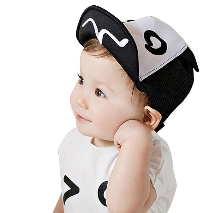103c53b2aeb Susenstone Children Hat Summer Mesh Soft Brim Flanging Sun hat Baseball Cap  (black )