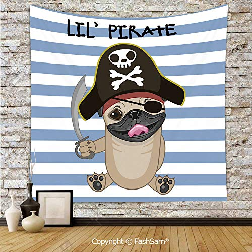 FashSam Tapestry Wall Hanging Buccaneer Dog in Cartoon Style Costume Holding Sword Lil Pirate Striped Backdrop Tapestries Dorm Living Room Bedroom(W39xL59) -