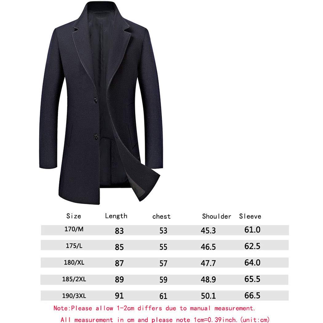 Men's Wool Trench Coat Mens Lapel Inside Pocket Coat Gentlemen Formal Overcoat for Men Wine Red