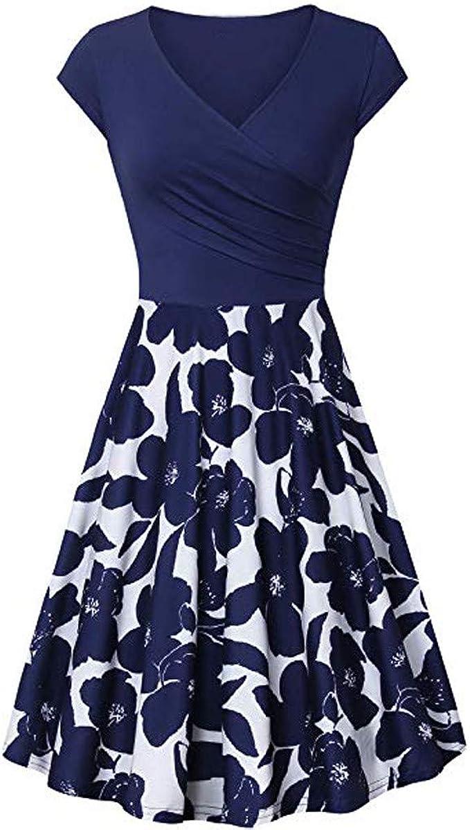 Damen A-Linie Kleid 18er Jahre Rockabilly mit Blumenrock 18/18 Ärmel Damen  Vintage Cocktailkleid Retro Pinup Partykleid